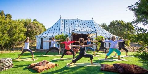 Peninsula Hot Springs - Yoga outside the Moroccan Tent