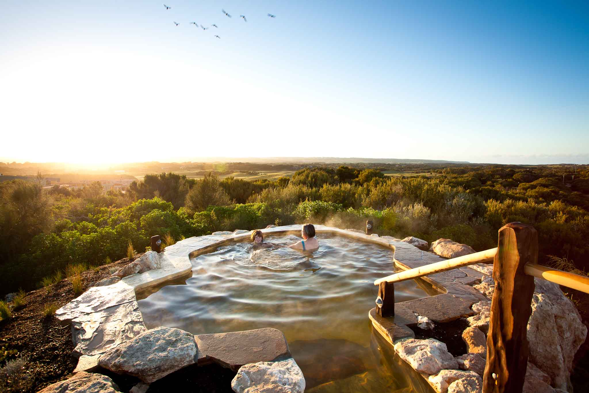 Hill Top Pool Sunrise Birds Peninsula Hot Springs