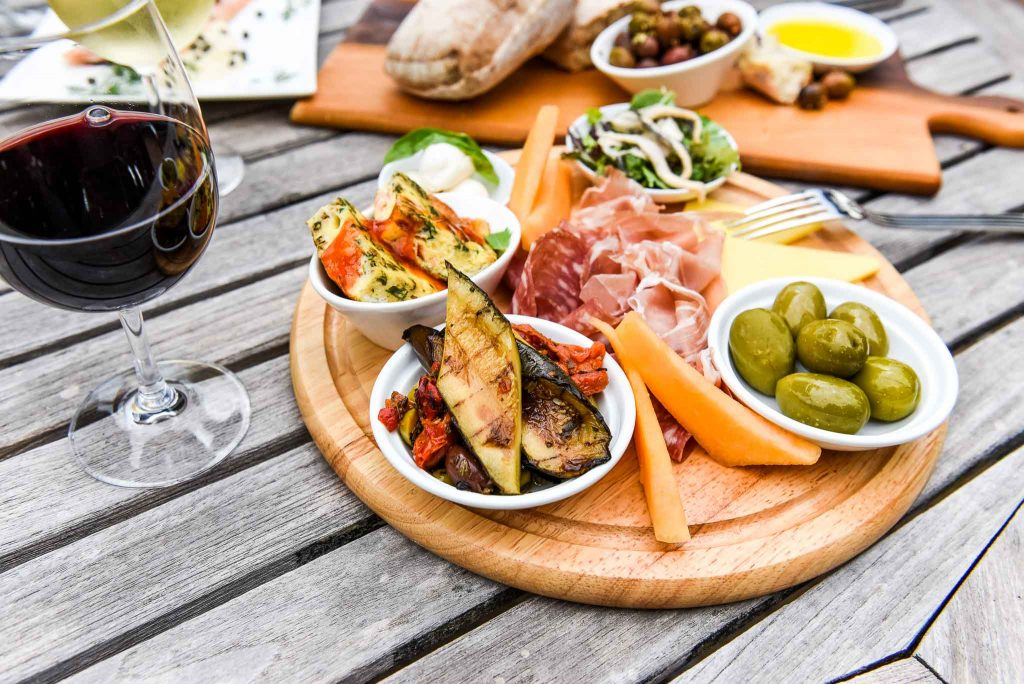 platter and wine